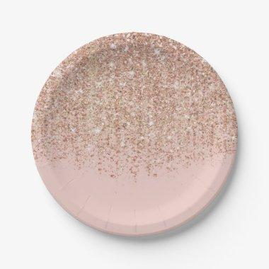 Blush Pink & Rose Gold Glitter Glam Party Paper Plate