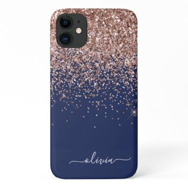Blush Pink Rose Gold Navy Blue Glitter Monogram iPhone 11 Case
