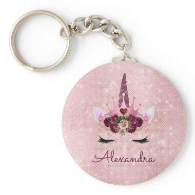 Blush Pink - Rose Gold Princess Unicorn Monogram Keychain