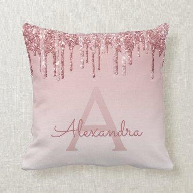 Blush Pink - Rose Gold Sparkle Glitter Monogram Throw Pillow