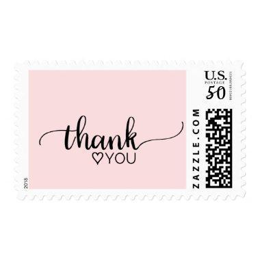 "Blush Pink Simple Calligraphy ""Thank You"" Wedding Postage"