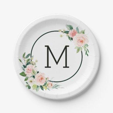 Blush Pink Watercolor Bloom Monogram Paper Plate
