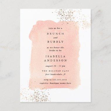Blush Pink Watercolor Brunch Bubbly Bridal Shower Invitation PostInvitations
