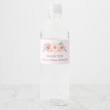 Blush Pink Watercolor Floral Water Bottle Label