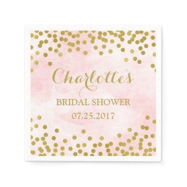 Blush Pink Watercolor Gold Confetti  Paper Napkin