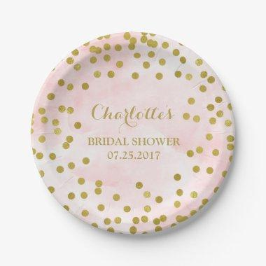 Blush Pink Watercolor Gold Confetti  Paper Plate