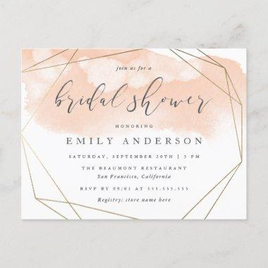 Blush Pink Watercolor Gold Geometric Bridal Shower Invitation PostInvitations