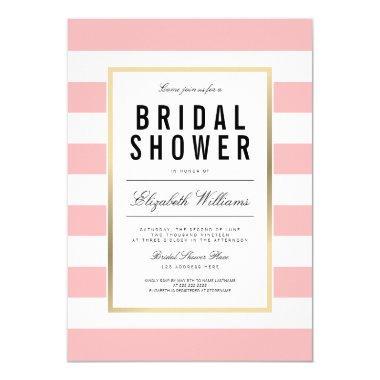 Blush Pink White Striped Gold  Invite