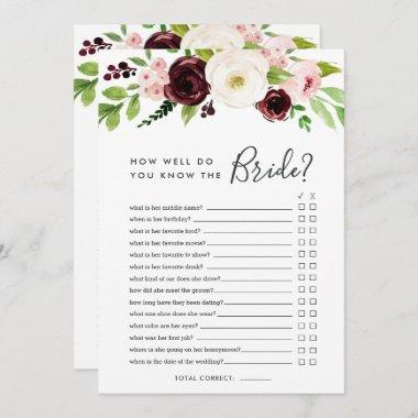 Blush Romance Double-Sided Bridal Shower Game Invitations