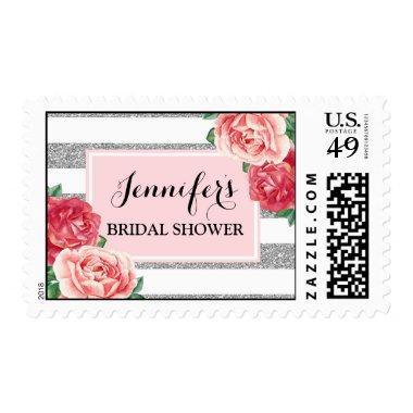 Blush Silver Stripes Pink Floral  Postage