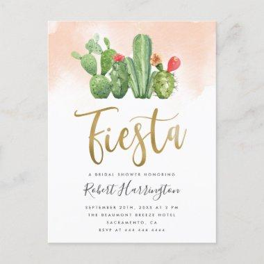 Blush Watercolor & Cactus Fiesta Bridal Shower Invitation PostInvitations