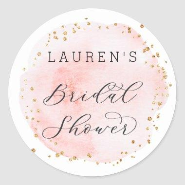 Blush Watercolor Circle Bridal Shower Classic Round Sticker