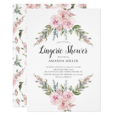 Blush Watercolor Floral Bridal Lingerie Shower Invitations