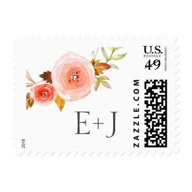 Blush Watercolor Floral Wedding postage 3605b