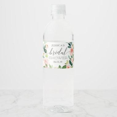 Blushing Bridal Shower Water Bottle Label