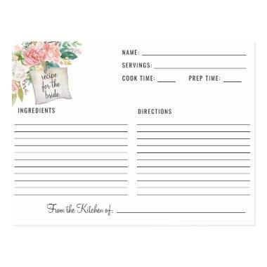 Blushing Summer Floral Bridal Shower Recipe PostInvitations