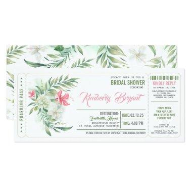 Boarding Pass | Floral Beach Bridal Shower Ticket Invitations