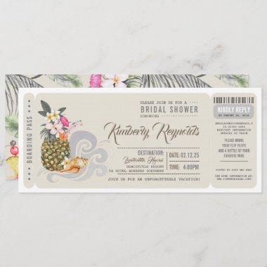 Boarding Pass | Pineapple | Beach Bridal Shower Invitations