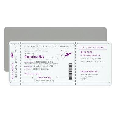 Boarding Pass Ticket Bridal Shower Invitations