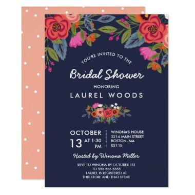 Bohemian Bouquet - Navy Blue Bridal Shower Invitations