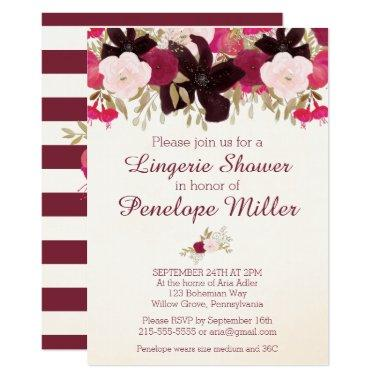 Bohemian Floral Lingerie Shower Invitations