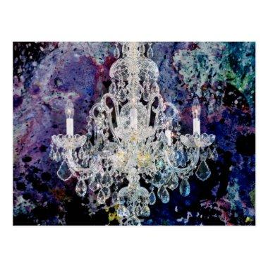 Bohemian Shabby Chic purple watercolor Chandelier Post