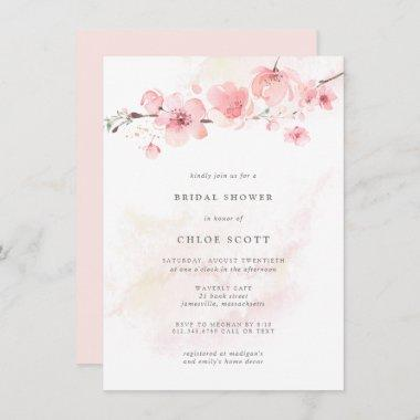 Boho Blush Pink Floral Bridal Shower Invitations