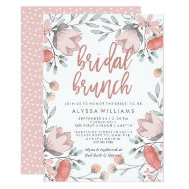 Boho Botanical Flowers Bridal Brunch Invitations