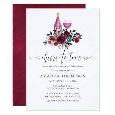 Boho Burgundy and Navy Bridal Shower Wine Tasting Invitations