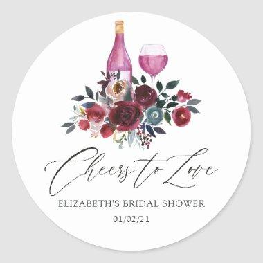 Boho Burgundy and Navy Wine Tasting Bridal Shower Classic Round Sticker