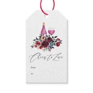 Boho Burgundy and Navy Wine Tasting Bridal Shower Gift Tags