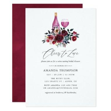 Boho Burgundy and Navy Wine Tasting Bridal Shower Invitations