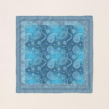 Boho chic blue paisley beautiful pattern scarf
