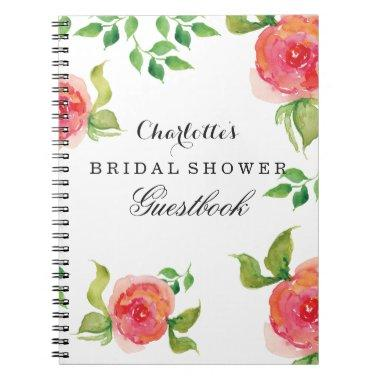 boho chic Coral  Guestbook Notebook