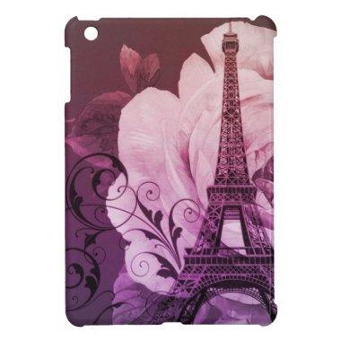 Boho chic purple floral Girly Paris Eiffel Tower Case For The iPad Mini