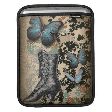 boho chicfloral butterfly vintage Victorian Shoe iPad Sleeve