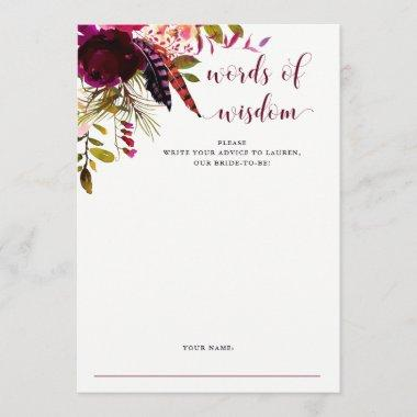 Boho Floral | Bridal Shower Advice Card
