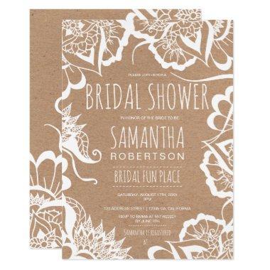 af1c24b55eb9 Boho floral mandala rustic kraft bridal shower Invitations