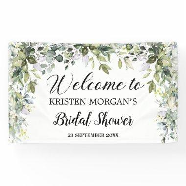 Boho greenery foliage leaves floral Bridal Shower Banner