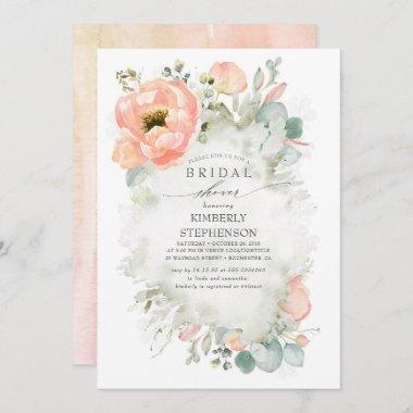 Boho Peach Flowers Elegant Garden Bridal Shower Invitations