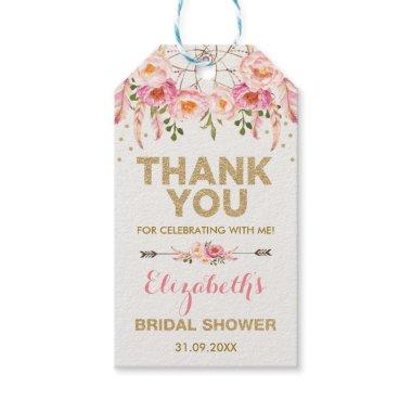 Boho Pink Gold Flowers Bridal Shower Favors Gift Tags