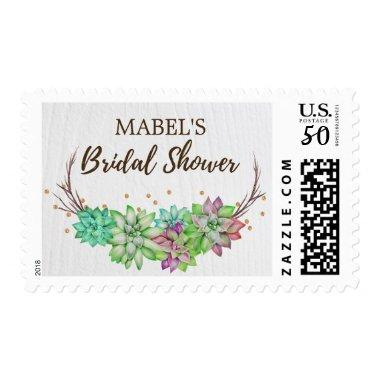Boho Rustic Floral Succulent  Postage