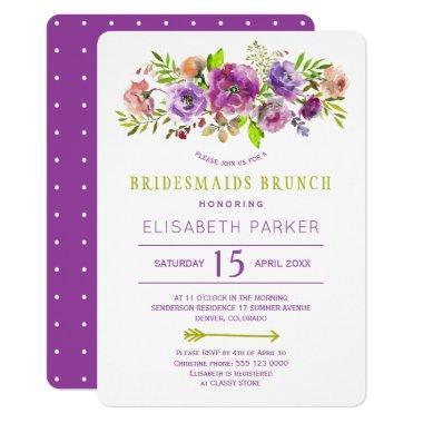 Boho rustic purple green floral bridesmaids brunch