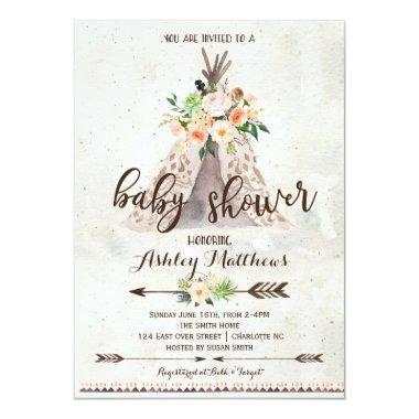 Boho TeePee baby shower