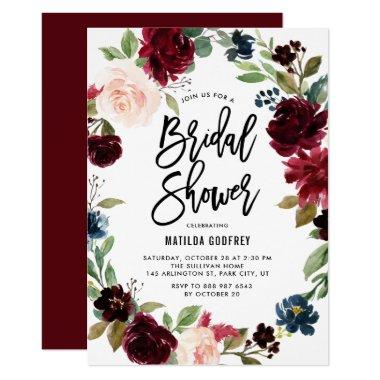 Boho Watercolor Autumn Floral Wreath Bridal Shower Invitations