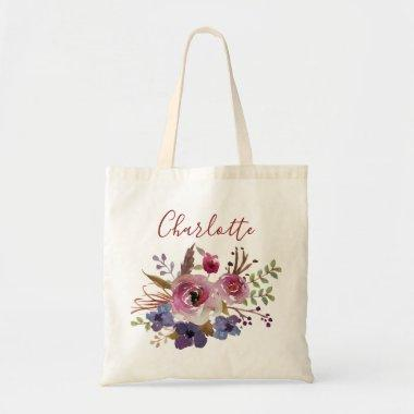 Boho watercolor flowers Bridesmaid Personalized Tote Bag