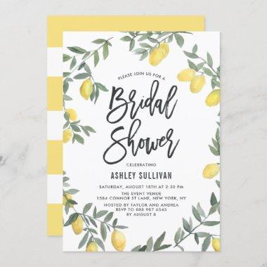 Boho Watercolor Lemon Wreath Bridal Shower Invitations