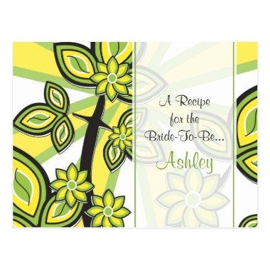Bold Yellow Green Floral Recipe Invitations for the Bride