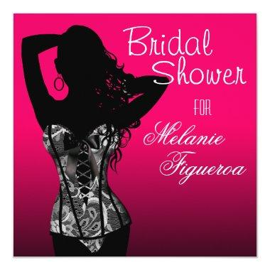 Bombshell Lingerie Lace Corset Bridal Shower Invitations