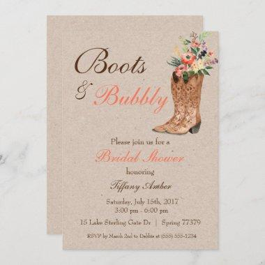 Boots & Bubbly Western Country Bridal Shower Invitations